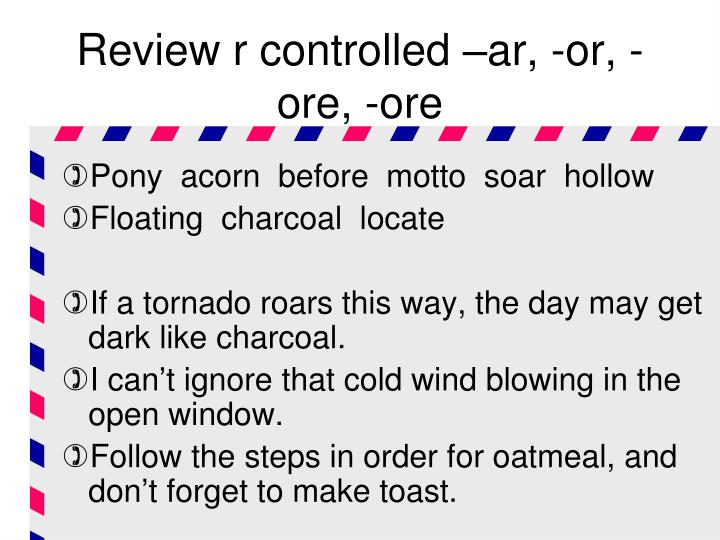 Review r controlled –ar, -or, -ore, -ore