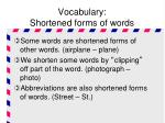 vocabulary shortened forms of words