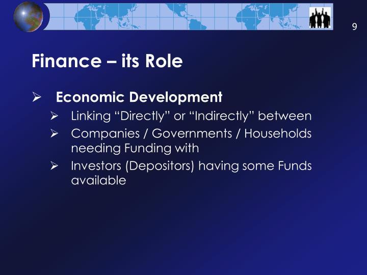 Finance – its Role