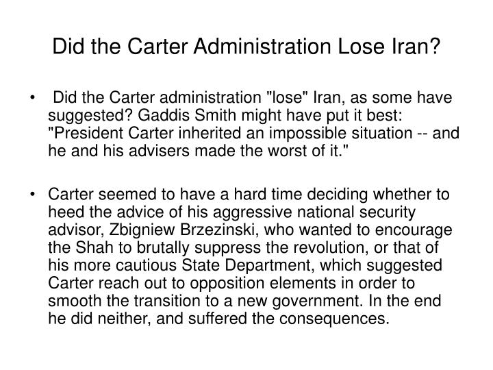 Did the Carter Administration Lose Iran?