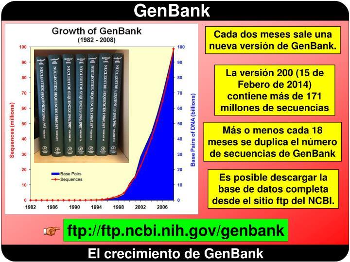 Cada dos meses sale una nueva versión de GenBank.