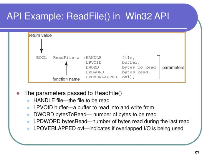 API Example: ReadFile() in  Win32 API