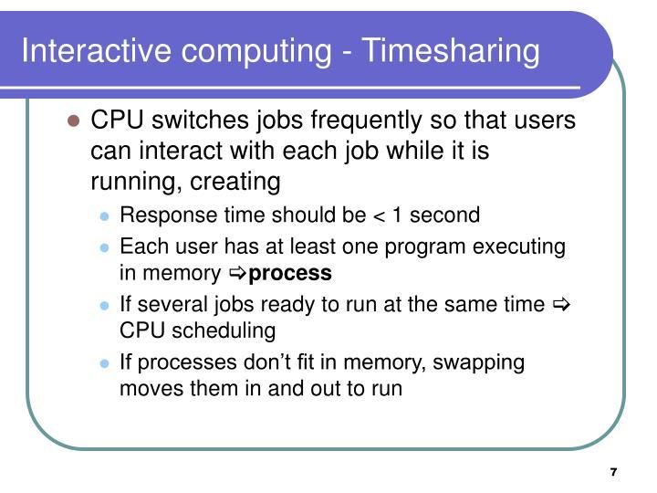 Interactive computing - Timesharing
