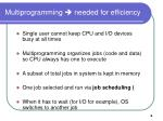 multiprogramming needed for efficiency