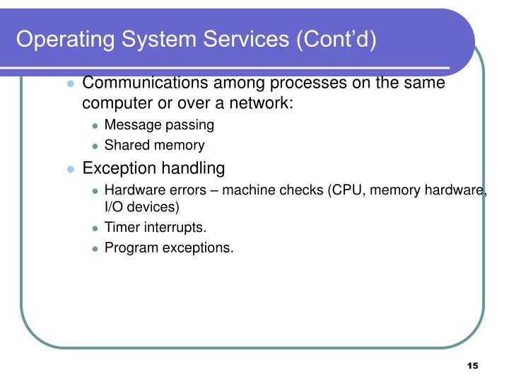 Operating System Services (Cont'd)