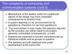 the complexity of computing and communication systems cont d
