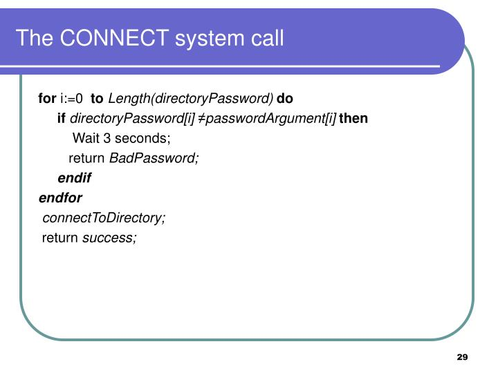 The CONNECT system call