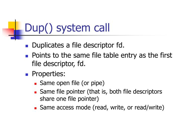 Dup() system call