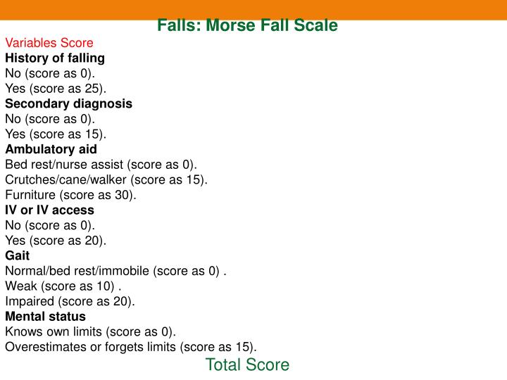 Falls: Morse Fall Scale