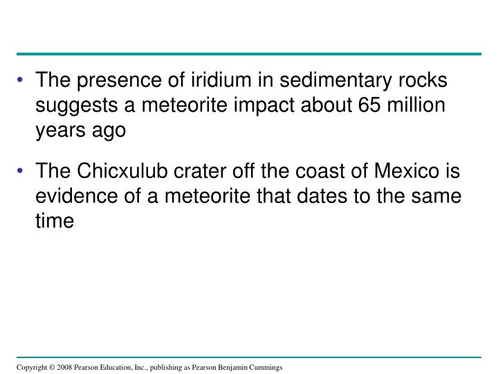 The presence of iridium in sedimentary rocks suggests a meteorite impact about 65 million years ago