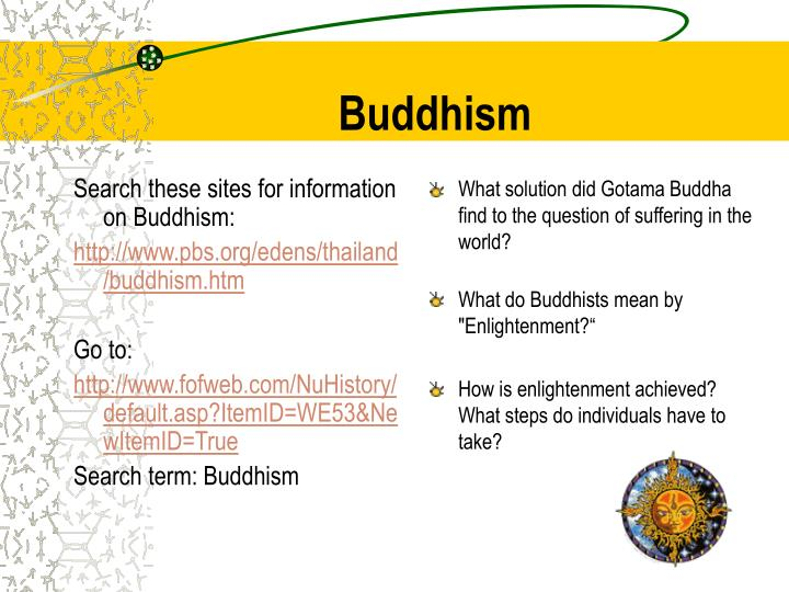 Search these sites for information on Buddhism: