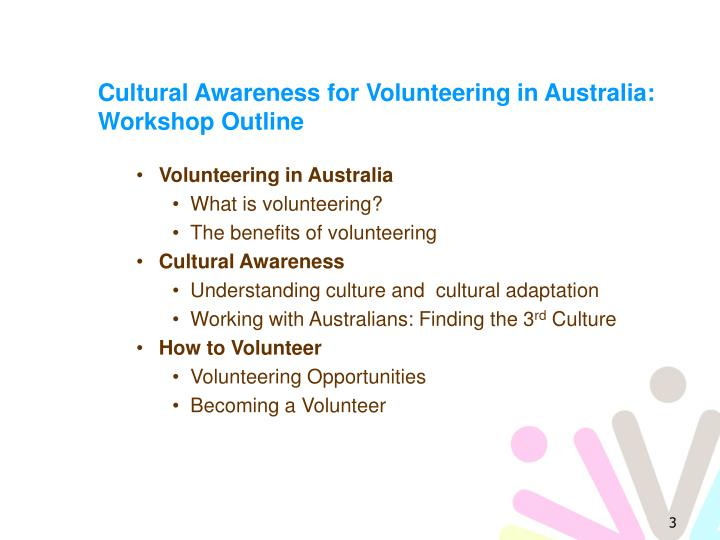 Cultural awareness for volunteering in australia workshop outline