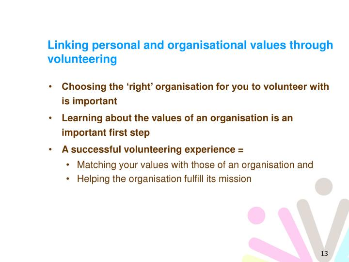 Linking personal and organisational values through volunteering