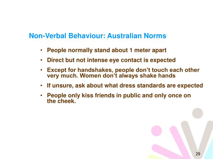 Non-Verbal Behaviour: Australian Norms