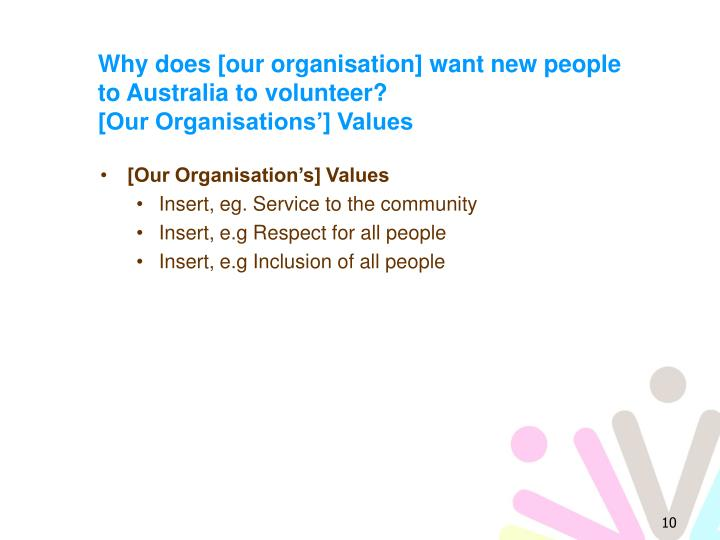 Why does [our organisation] want new people