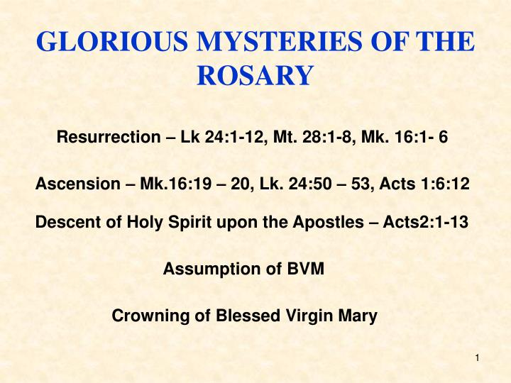 GLORIOUS MYSTERIES OF THE ROSARY