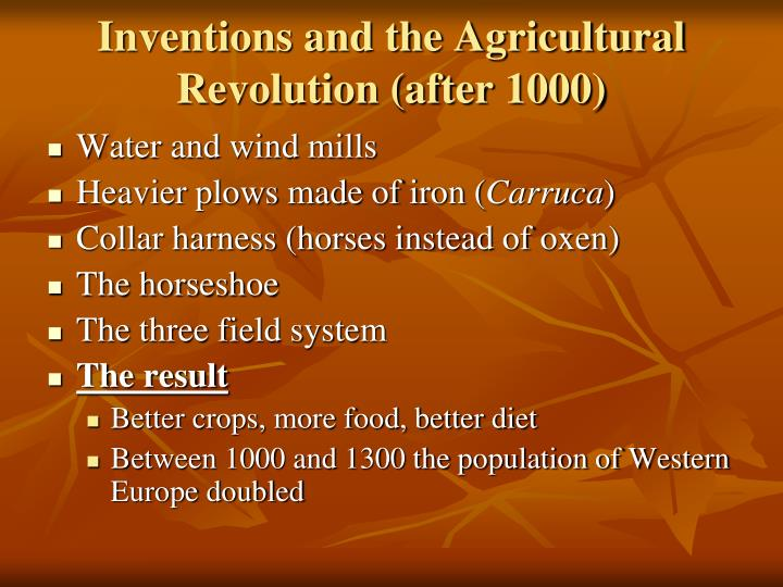 Inventions and the agricultural revolution after 1000