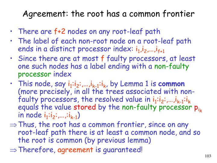 Agreement: the root has a common frontier