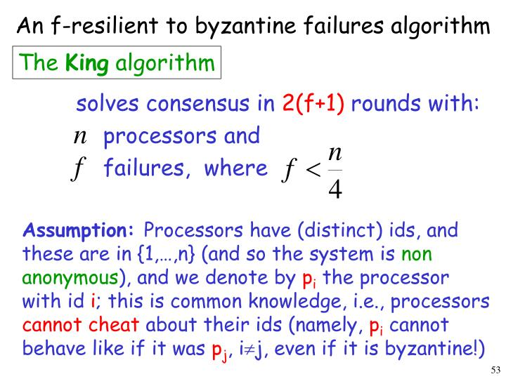 An f-resilient to byzantine failures algorithm