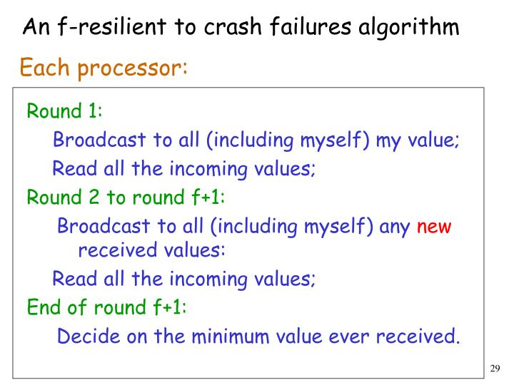 An f-resilient to crash failures algorithm