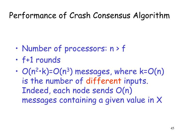 Performance of Crash Consensus Algorithm