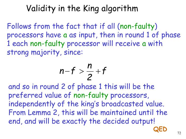 Validity in the King algorithm