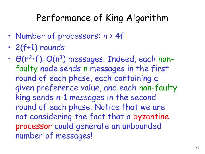 Performance of King Algorithm