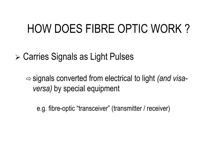 HOW DOES FIBRE OPTIC WORK ?