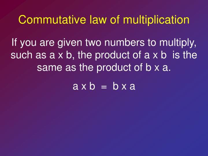 Commutative law of multiplication