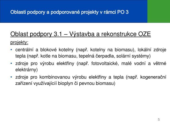 Oblasti podpory a podporované projekty v rámci PO 3