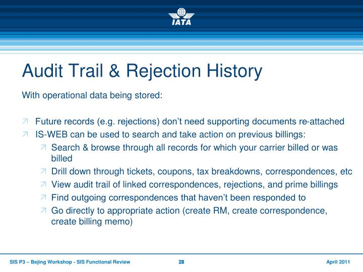 Audit Trail & Rejection History
