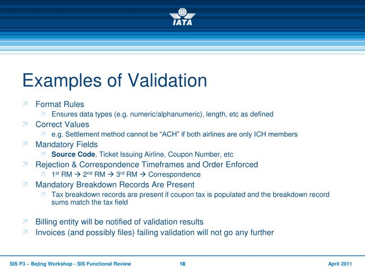 Examples of Validation