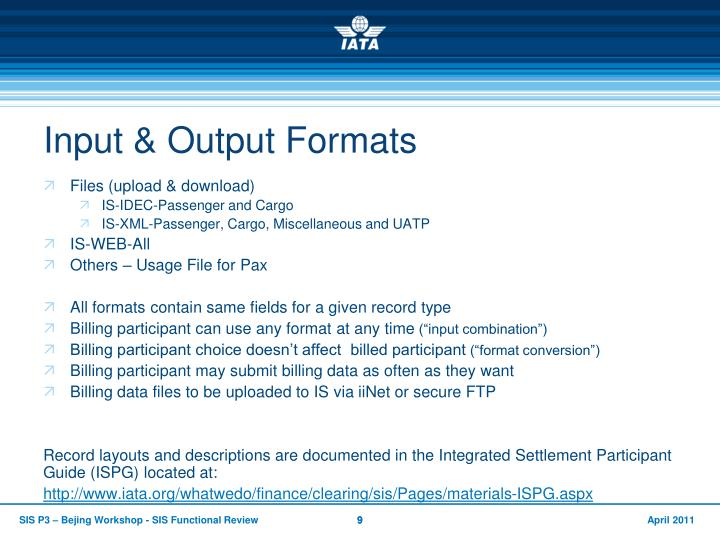 Input & Output Formats