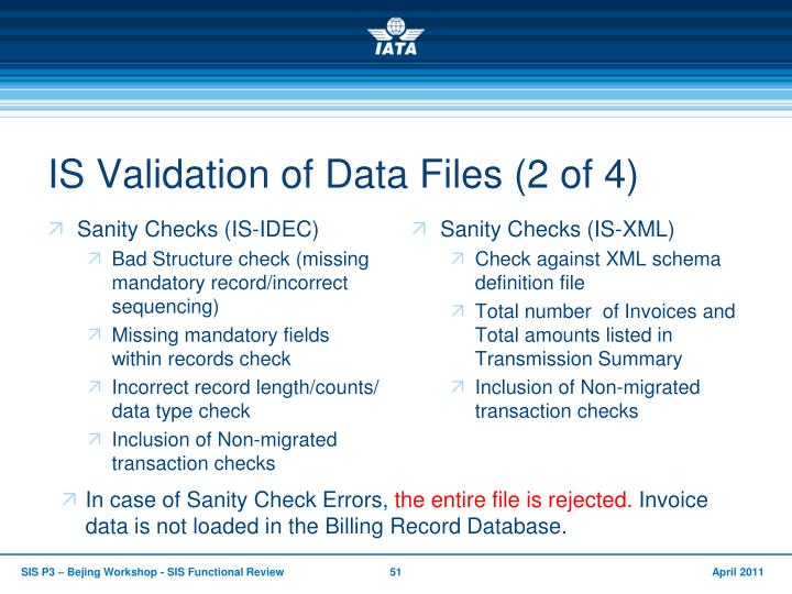 IS Validation of Data Files (2 of 4)