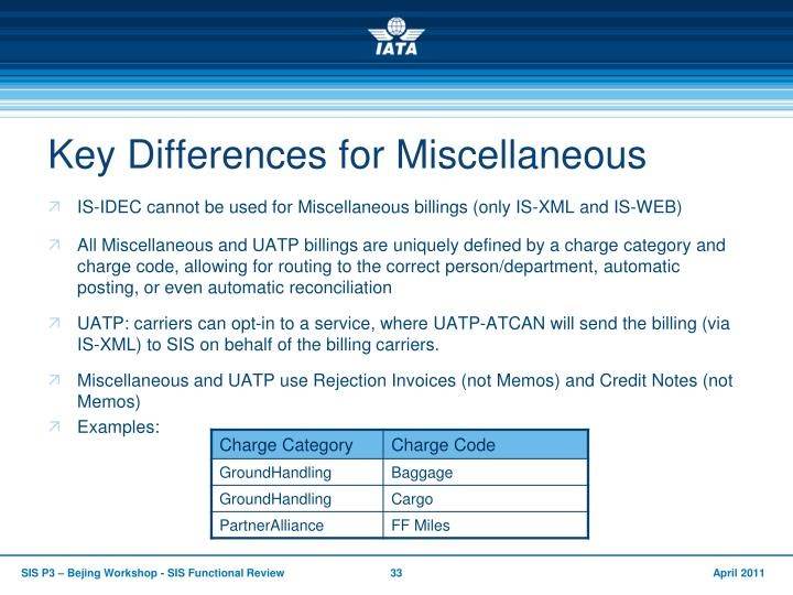 Key Differences for Miscellaneous