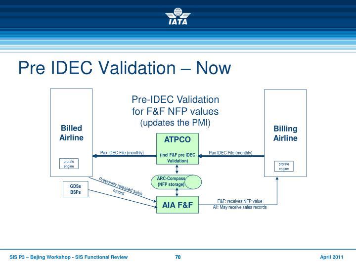 Pre IDEC Validation – Now