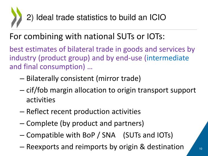2) Ideal trade statistics to build an ICIO