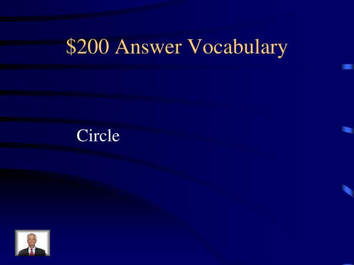 $200 Answer