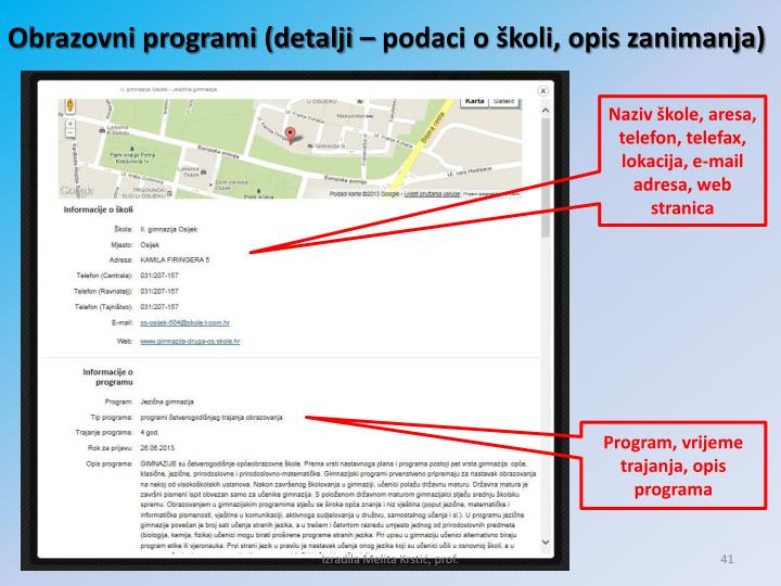 Obrazovni programi (detalji – podaci o školi, opis zanimanja)