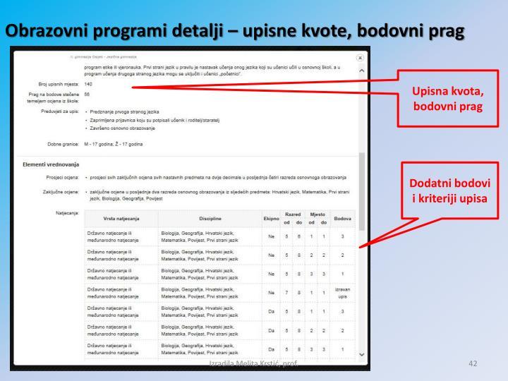 Obrazovni programi detalji – upisne kvote, bodovni prag
