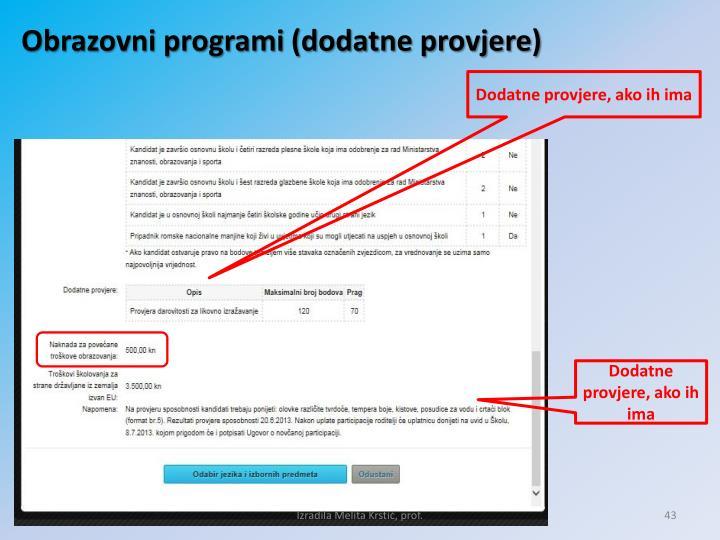 Obrazovni programi (dodatne provjere)