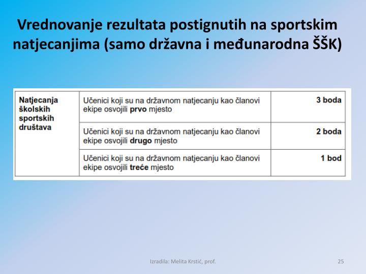Vrednovanje rezultata postignutih na sportskim natjecanjima (samo državna i međunarodna ŠŠK)