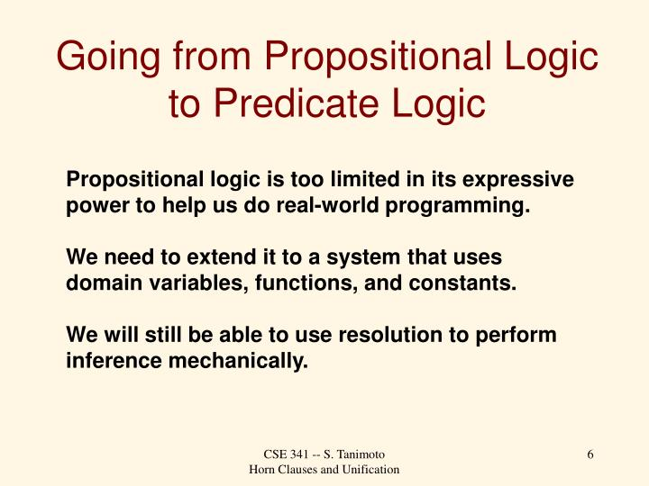 Going from Propositional Logic to Predicate Logic