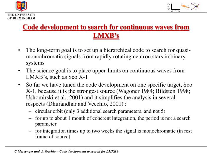 Code development to search for continuous waves from LMXB's