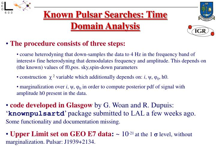 Known Pulsar Searches: Time Domain Analysis