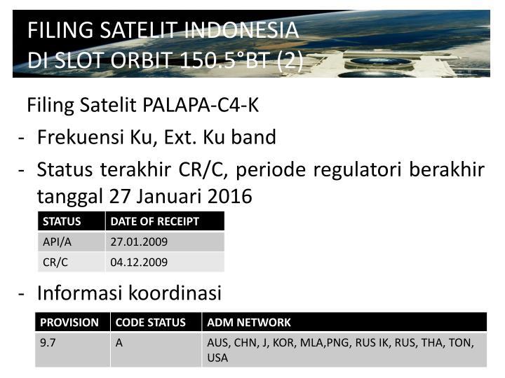FILING SATELIT INDONESIA DI SLOT ORBIT 150.5°BT (2)