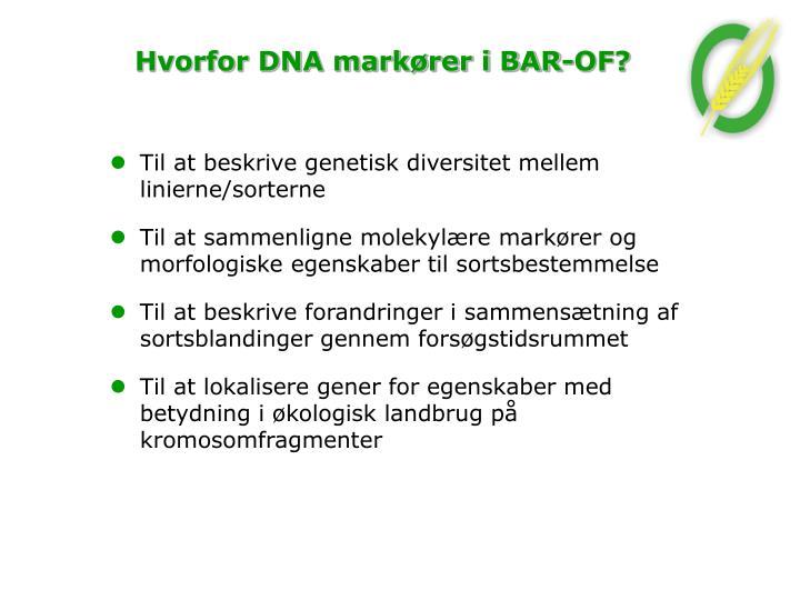 Hvorfor DNA markører i BAR-OF?