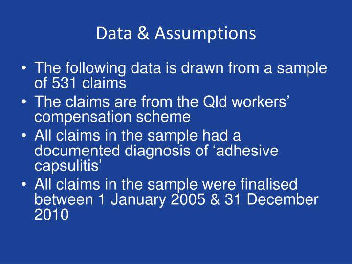 Data & Assumptions