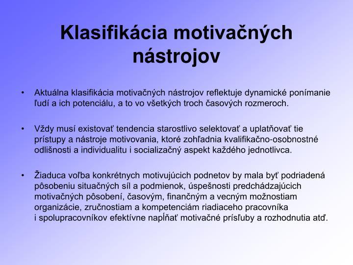 Klasifikácia motivačných nástrojov