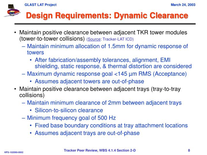 Design Requirements: Dynamic Clearance